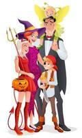 família do vetor dos desenhos animados em fantasias de festa de halloween