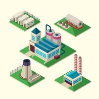 Conjunto de edifícios industriais vetor