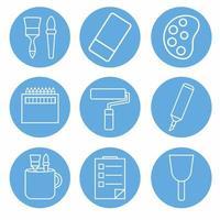 vetor de ícone de conjunto de ferramentas de pintura parte do ícone 2 - estilo monocromático azul