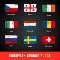 Conjunto de vetores de bandeiras do grunge
