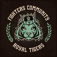 Design de emblema com tigre na coroa