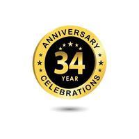 Ilustração de design de modelo vetorial celebração de aniversário de 34 anos vetor