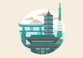 Ilustração em vetor plana Japão Landmark