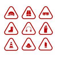 Conjunto de ícones monocromáticos de equipamentos de proteção pessoal vetor