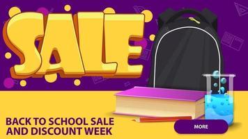 venda de volta às aulas, banner em estilo grafite com mochila escolar vetor
