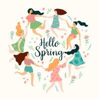 Olá Primavera. Ilustração bonita com mulheres Desenho vetorial.