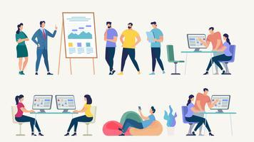 Rede social e conceito de vetor de trabalho em equipe.