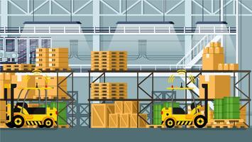 Vetor de linha de transporte automático de embalagem de mercadorias