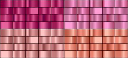 conjunto de vetores de gradientes de metal de ouro rosa colorido.