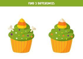 encontrar 3 diferenças halloween cupcake2 vetor