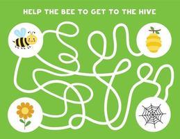 labirinto lógico colorido com abelha bonita. jogo lógico para crianças. vetor