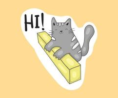 coleção colorida de adesivos de gatos engraçados desenhados à mão vetor