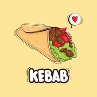 ilustração de kebab desenhada à mão colorida vetor