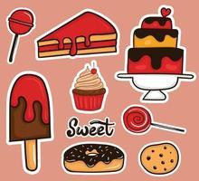 coleção colorida de adesivos de comida doce desenhada à mão vetor