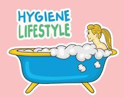 garota colorida desenhada à mão em ilustração de banheira vetor