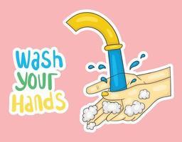 ilustração colorida desenhada à mão para lavar as mãos vetor