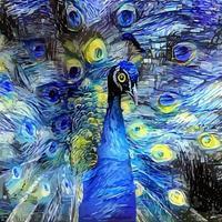 pintura de retrato com paródia de pavão impressionista noite estrelada vetor
