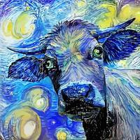 touro engraçado noite estrelada impressionista pintura de retrato paródia vetor