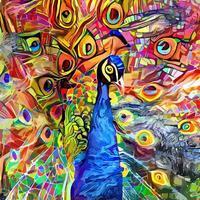 pintura de retrato de pavão impressionista artística vibrante vetor