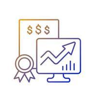 ícone de vetor linear gradiente de títulos negociáveis