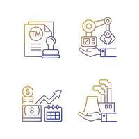 Conjunto de ícones de vetor linear gradiente de investimentos em negócios de longo prazo