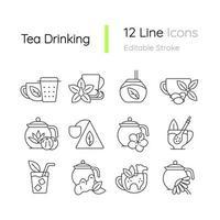 conjunto de ícones lineares relacionados ao consumo de chá vetor