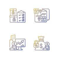 ações da empresa e conjunto de ícones de vetor linear gradiente de franquia