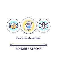 ícone do conceito de penetração de smartphone vetor
