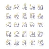 ativos de negócios conjunto de ícones de vetor linear gradiente
