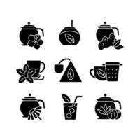 chá e bebidas semelhantes a chá ícones de glifo preto definidos no espaço em branco vetor