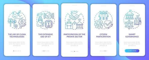 instrumentos da tela da página do aplicativo de integração azul gradiente de cidade inteligente vetor
