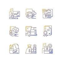 suprimentos de escritório e equipamentos conjunto de ícones de vetor linear gradiente