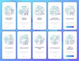 tela da página do aplicativo móvel de integração de cidade inteligente gradiente azul vetor