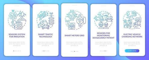tela de página de aplicativo móvel de integração de projetos de cidade inteligente vetor