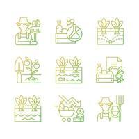 conjunto de ícones de vetor linear gradiente de agricultura