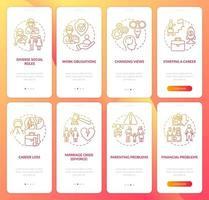 tela da página do aplicativo móvel de integração psicologia da idade adulta vetor