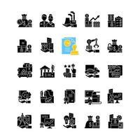 ativos de negócios ícones de glifo preto definidos no espaço em branco vetor
