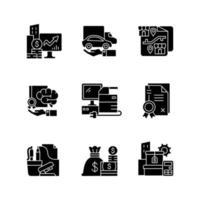 materiais e equipamentos de escritório ícones de glifo preto definidos no espaço em branco vetor