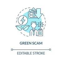 ícone do conceito de golpe verde vetor