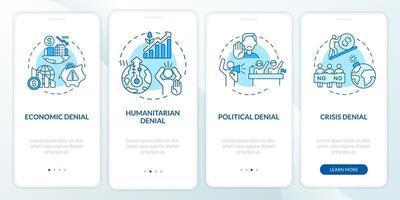 tela da página do aplicativo móvel de integração da negação humanitária vetor