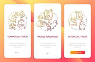 curso da idade adulta tela da página do aplicativo móvel de integração vetor