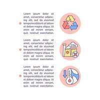 ícones de linha de conceito de mitigação de mudança climática com texto vetor