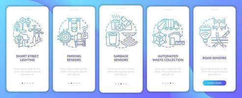 tela da página do aplicativo móvel de integração da estrutura da cidade inteligente vetor