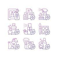 produtos reutilizáveis conjunto de ícones de vetor linear gradiente