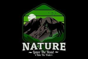 natureza deixe a estrada pegue as trilhas design de silhueta vetor