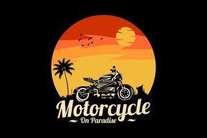 motocicleta no paraíso design de silhueta vetor