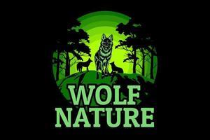 desenho da silhueta da natureza do lobo vetor