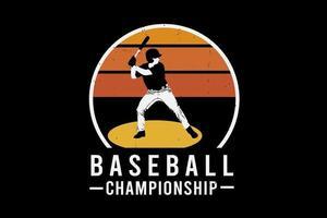 design da silhueta do campeonato de beisebol vetor