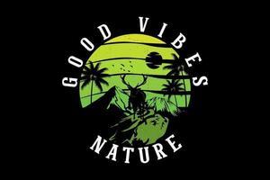 design de silhueta com boas vibrações da natureza vetor