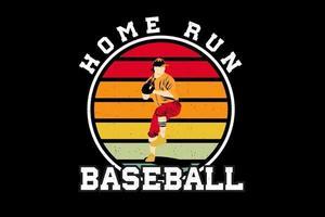 design de silhueta de home run de beisebol vetor